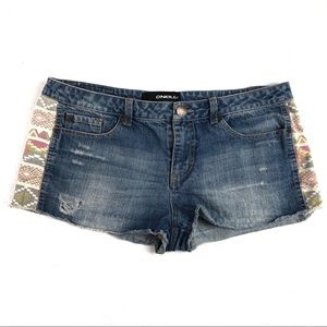 O'NEILL cut off shorts 13 tribal print sides b206